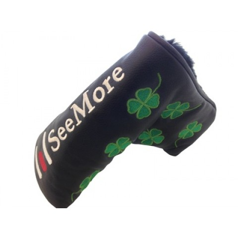 Four Leaf Clover Head Cover Black (Magnetic Closure)